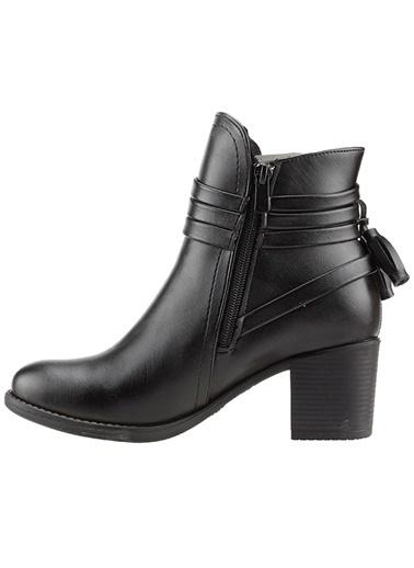 Ayakland Ayakland 8422-832 Cilt Siyah 6Cm Topuk Bayan Bot Ayakkabı Siyah